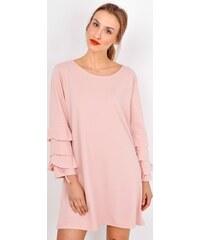 BASIC Růžové lichoběžníkové šaty s vrstvenými rukávy - 18017 084fc3ba68