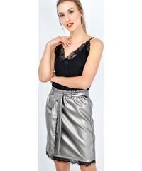 2d10e8599720 BASIC Strieborná sukne nad kolená lemovaná krajkou - SP11