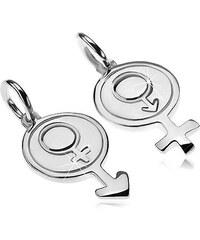 Šperky eshop - Prívesky pre dvoch zo striebra 925 - okrúhly symbol muža a  ženy Z30 01030f531dd