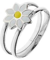 e2db863ac Šperky eshop - Strieborný prsteň 925 - zdvojené obruče s margarétkou,  nastaviteľný C23.19