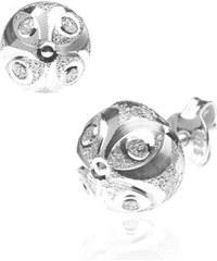 76ccbe956 Šperky eshop - Náušnice zo striebra 925 - trblietavý polkruh, mačacie oči  X29.16