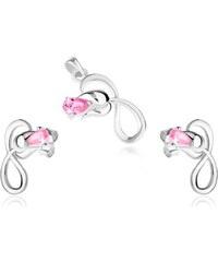 6ebd4a8e6 Šperky eshop - Strieborná sada 925, náušnice a prívesok, ruža so slučkou,  ružový