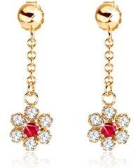 571a970df Šperky eshop - Náušnice v žltom 9K zlate - retiazka, kvietok tvorený  zirkónmi a rubínom