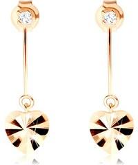 Šperky eshop - Náušnice v žltom 9K zlate - srdiečko s lúčovitými ryhami 30a95d3ea82
