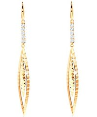 da6139e55 Šperky eshop - Visiace náušnice zo žltého 14K zlata - línia čírych zirkónov,  úzke zrnko