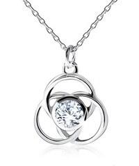 827c26063 Šperky eshop - Náhrdelník zo striebra 925, lesklý obrys kvetu, okrúhle  lupene, zirkón