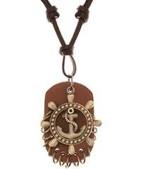 bb243373d Šperky eshop - Nastavitelný kožený náhrdelník - kormidlo s kotvou, pás kůže  Y42.18