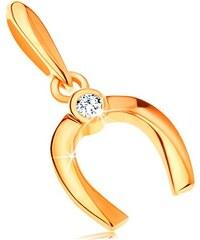 e768afbbc Šperky eshop - Zlatý prívesok 585 - malá lesklá podkovička pre šťastie, okrúhly  číry zirkón