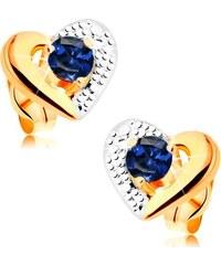 7d9de3e4c Šperky eshop - Zlaté náušnice 585 - dvojfarebný obrys srdca, gravírovanie,  modrý zafír GG161