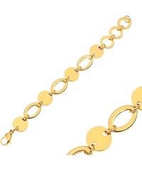 42b4d7228 Šperky eshop - Náramok z ocele 316L, okrúhle a oválne články, zlatý odtieň  AA36