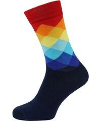 Quentino Tmavě modré pánské ponožky s barevným károváním fcce105fa9