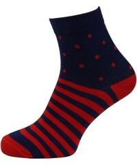 Quentino Tmavě modré pánské ponožky s červenými pruhy a puntíky ff2f8e8f9f