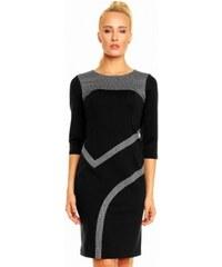 Dámské společenské šaty Karina s 3 4 rukávem se vzorem černé LENTAL 2889 29b02c8b65