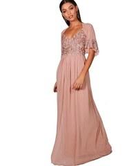 BOOHOO Boutique MICHI Růžové maxi šaty se třpytkami aa72977a63
