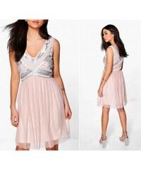 BOOHOO Společenské šifonové šaty korálkovým zdobením 55418a3acc