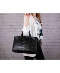 dd20321140 TALIANSKE Talianska Veľká kožená kabelka do ruky pracovná čierna Rachel