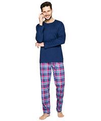 Regina Pánské bavlněné pyžamo Pablo tmavě modré s knoflíky f4f090b742