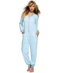 Sensis Dámský modrý bavlněný overal na spaní Blue sheep zip 8d0fc3688e