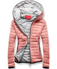 30ba244ed235 Ružové Dámske prešívané bundy so zapínaním na zips