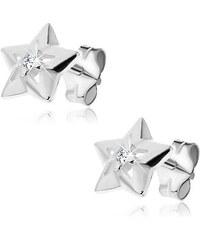 a4e2bc7bd Šperky eshop - Strieborné náušnice 925 - hviezdička s výrezmi a so zirkónom  Y45.4