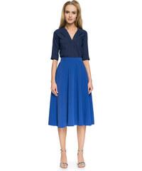 b711b052fc5b Style Kráľovsky modrá Áčková MIDI sukňa S006