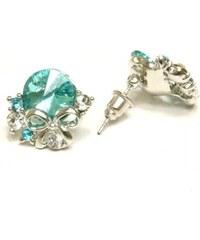 ZOYO Náušnice modrý kamínek - stříbrné