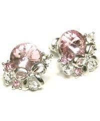 ZOYO Náušnice růžový kamínek - stříbrný odstín