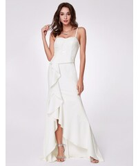 Ever-Pretty Bílé šaty se špagetovými ramínky a volány dea5d33b2e