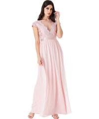 CITYGODDESS Dlouhé společenské šaty Mamon růžové 27dfd5b698