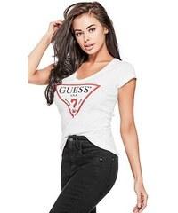 GUESS tričko Classic Triangle Logo Tee biele 2c33e477bef
