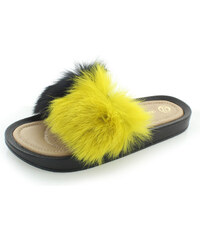 Fekete kényelmes papucs szőrmével DSL031 | OLIVIA SHOES