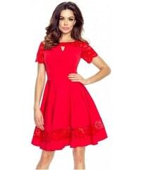 cb3f513c406d Krásné šaty s krajkou červené 5901 Bergamo 5901