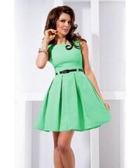 10e7bff134f Dámské elegantní společenské šaty bez rukávu s páskem tyrkysové NUMOCO 6-16