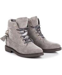 e7f80c3cce Dámské kotníkové boty Ideal Shoes Kerrs šedé - šedá