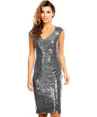 Dámské společenské šaty Mayaadi Deluxe tmavě šedé - šedá 24ffc1f0ee