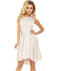 6a69d630854 numoco Společenské dámské šaty s asymetrickou sukní a kolečky pastelově  růžové