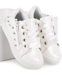 CNB Originálne biele dievčenské tenisky viazané stužkou 1663d1f231d
