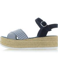 Oliver Tmavomodré platformové kožené sandále 28327 558e2899e5e