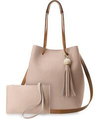 62cab4229e3 World-Style.cz Unikátní shopper dámská kabelka vak s třásněmi + kapsička  růžová