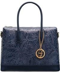 Glamorous by GLAM Dámska kožená kabelka s kvetmi do ruky - tmavá modrá 1c04c271aa8
