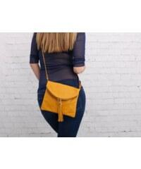 Talianske malé kožené kabelky listovky žltá Korzika 55c77baf82e