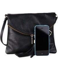 Talianske kožené listové crossbody kabelky čierne Korzika 572b071fc21