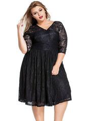 NoName 02 Dámské šaty pro plnoštíhlé krajkové černé e4f2f0d311