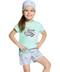fa197b28bec1 Taro Dievčenské detské bavlnené krátke pyžamo Hanička tyrkysové