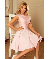 09407b93307 NUMOCO Dámské šaty Marta s krajkou růžové