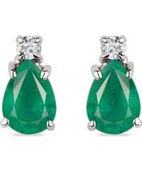 Zlaté náušnice s diamanty a smaragdy KLENOTA k0417042 dad3ab3383b