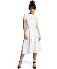 f73a26cec5cb BE WEAR Smotanovobiele rozšírené letné šaty v MIDI dĺžke B067