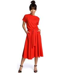 944bcac441a7 BE WEAR Červené rozšírené letné šaty v MIDI dĺžke B067