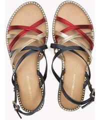 61a2b38700 Tommy Hilfiger barevné kožené sandály Metallic Strappy Flat Sandal RWB - 36