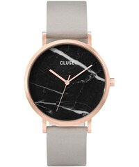 Dámské hodinky s šedým koženým řemínkem a mramorovým ciferníkem dekoru Cluse  La Roche Rose 71f88e1c9c